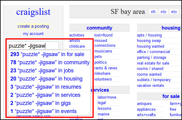 Craigslist wildcard search for puzzle and without jigsaw