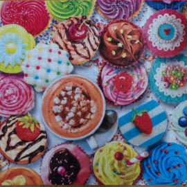 Finished puzzle of Cupcakes and Cocoa by Aimee Stewart, Buffalo Games Vivid Collection, 1000pc