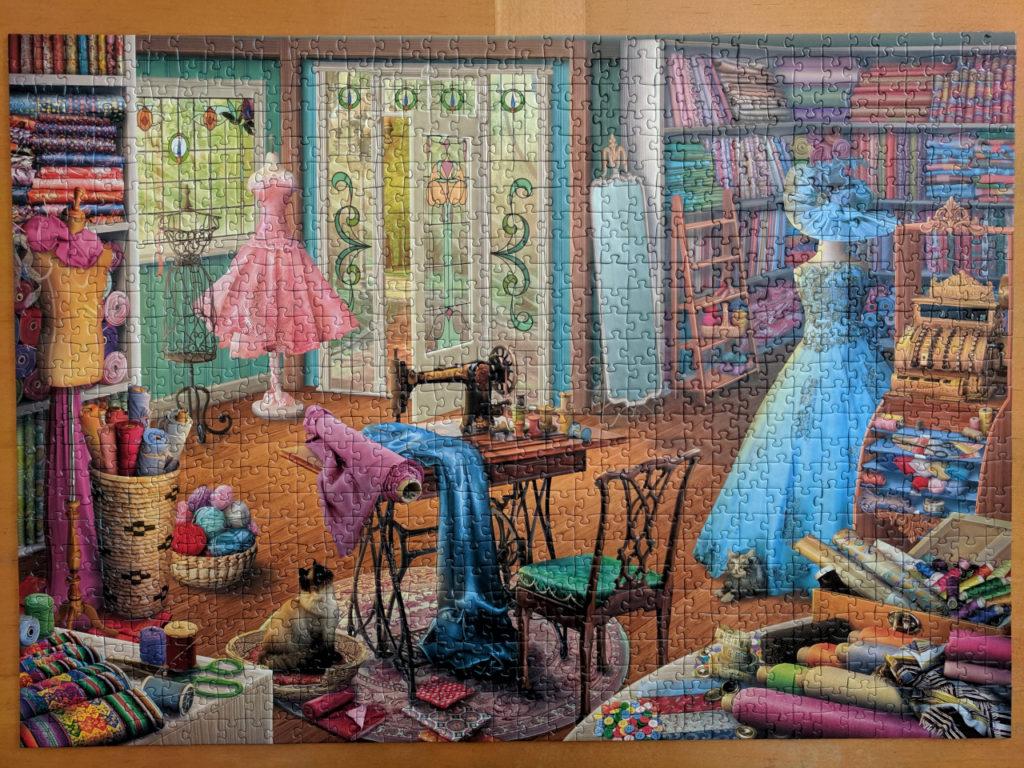 1000 piece Ravensburger puzzle, Seamstress Shop