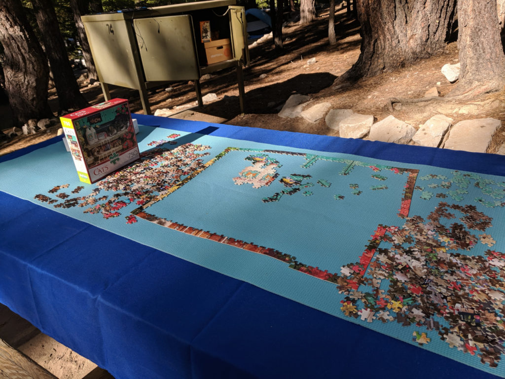 Jigasaw puzzle while camping