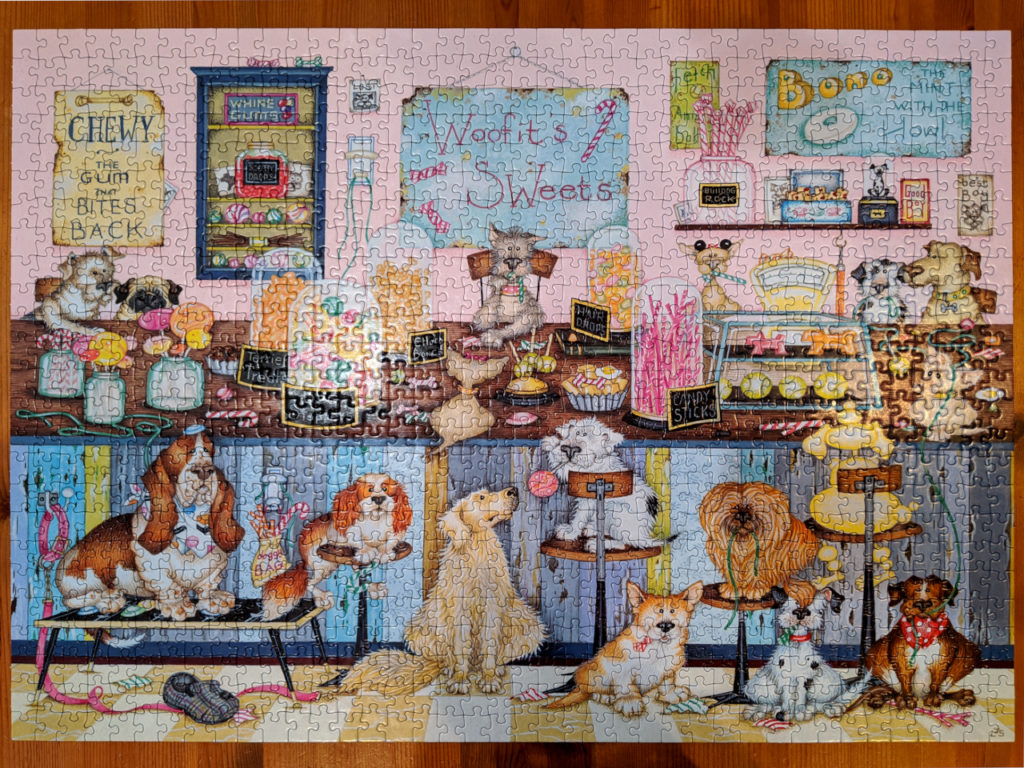 Completed Woofit's Sweet Shop 1000 piece puzzle