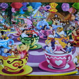 Disney characters riding Mad Tea Cup