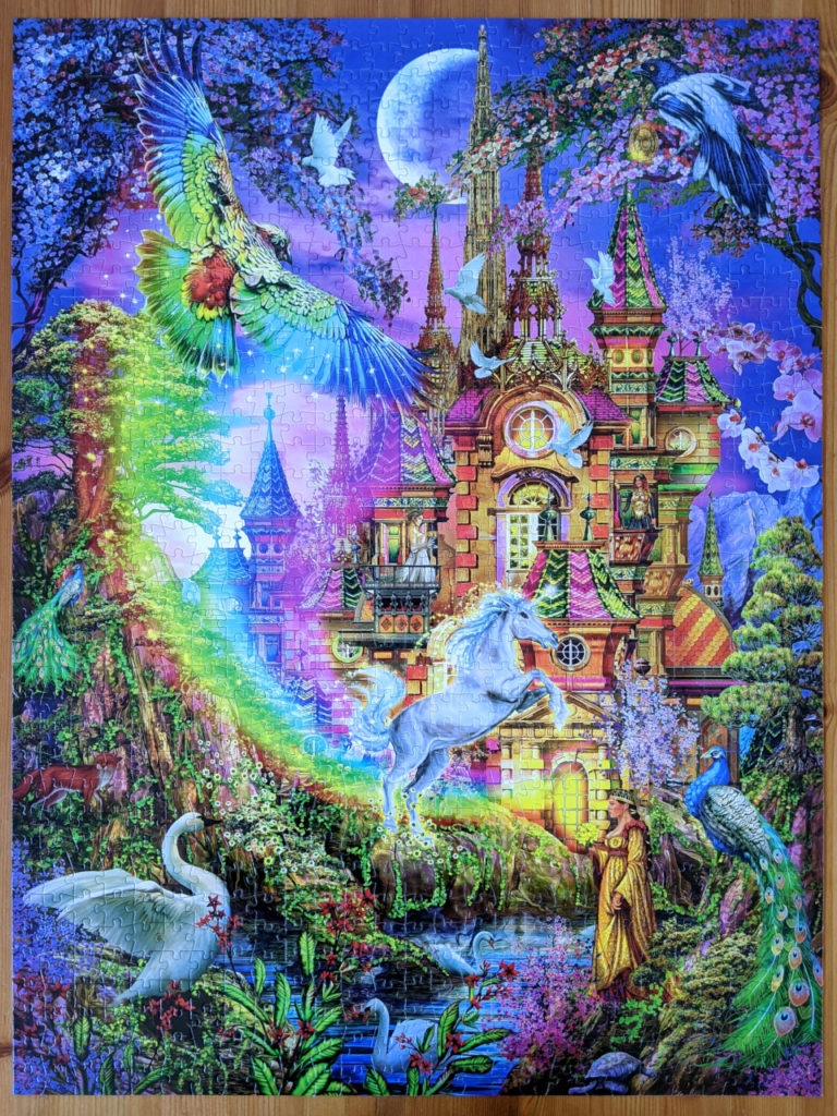 Puzzle of enchanted castle with vibrant rainbow colors