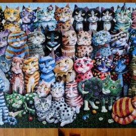 Colorful portrait of a cat family reunion