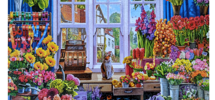 Quaint flower shoppe filled with an assortment of colorful flowers
