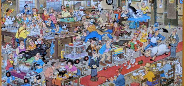 The Dog Show puzzle is bizarre and wonderful. Illustration by Jan Van Haasteren